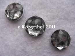 15 Strass Aufnähsteine Rund ca. 12mm Grau Black Diamond