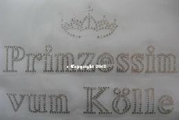 Hotfix Bügelbild Strass  Prinzessin vun Kölle 120112-2