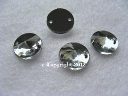 Strass Aufnähsteine Rund Rivoli ca. 10mm  Crystal