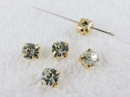 Glas Aufnähsteine goldfarben gefasst Strasssteine ca. 6mm Crystal