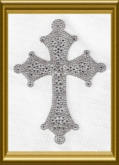 Hot Fix Strass gr. Strass Kreuz silber/Crystal 110917