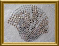 Strass Bügelbild Muschel Auster Weiß, Kupfer, AB Crystal 100915