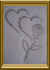 Strass Herz 2 Herzen mit Rose 101030 Crystal