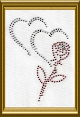 Strass 2 Herzen mit Rose 101030 Herzen Crystal Rose Rot