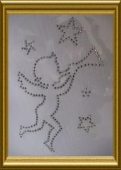 Bügelbild Strass Engel mit Sternen 101106