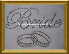 Hotfix Strass Schriftzug Bride mit Ringen Farbwahl 110214