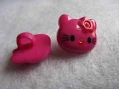 1 Kinderknopf Knöpfe Kätzchen Fuchsia 14 x 13mm