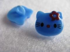1 Kinderknopf Knöpfe Kätzchen Blau 14 x 13mm
