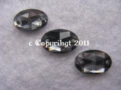 15 Aufnähsteine Aufnähstrass Oval ca. 12 x 8 mm  Black Diamond