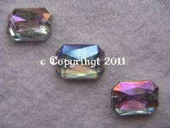 10 Aufnähsteine Achteck ca. 14x10 mm AB Crystal