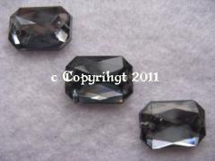Schmucksteine 10 Aufnähsteine Achteck ca. 14 x 10 mm Black Diam