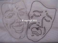 Bügelbild 2 große Strass Masken Fasching Karneval 110927