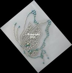 Hotfix Bügelbild Strass Schmetterling Pearl u. Blau