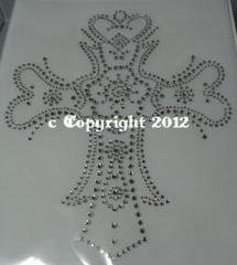 Bügelbild Strass aufwändiges Kreuz Crystal 120223