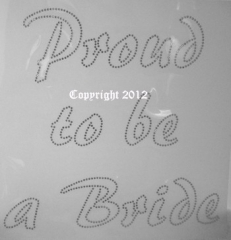 Bügelbild Strass Proud to be a Bride 120406