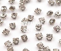15 Glas Aufnähsteine Silber Fassung ca. 4 mm Crystal