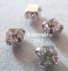 15 Glas Aufnähsteine Silber Fassung ca. 4,5mm Crystal