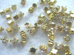 15 Strasssteine aufnähen Glas Gold Fassung ca. 4,5mm Crystal