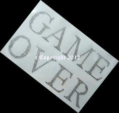 Hotfix Bügelbild Strass Schrift  Game Over 120709