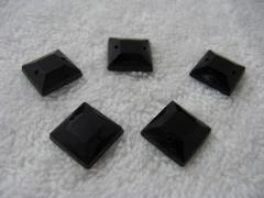 15 Aufnähsteine Quadrat Nr. 2 ca. 12mm Schwarz AAA Qualität