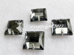 15  Aufnähsteine Quadrat Nr 2ca. 12mm Black Diamond AAA Qualität