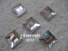 15 Aufnähsteine Quadrat Nr.2 ca. 12mm AB irisierend AAA Qualität