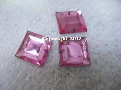 15 Aufnähsteine Quadrat ca. 12mm Rosa AAA Qualität