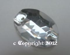 Aufnähsteine aus Glas Oval 16x11mm Crystal aufnähen