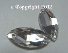 Aufnähsteine aus Glas Spitzoval Oval 18 x 9 mm Crystal