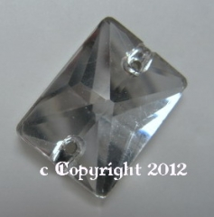 Aufnähsteine aus Glas Rechteck 16 x 13 mm Crystal