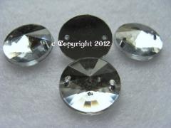 Strass Aufnähsteine Rund Rivoli ca. 14mm  Crystal