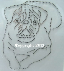 Strass Bügelbild Hund Mops Hundezucht Zuchtverband 130301