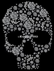 Strassbild Bügelmotiv Totenkopf Skull Rosenformen 130109-06sa