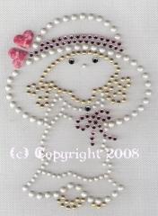 Dome Studs Strass Bügelbild süßes Mädchen Pink 121206