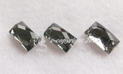 15 Strass zum aufnähen  Rechteck ca. 14 x 9 mm Black Diamond