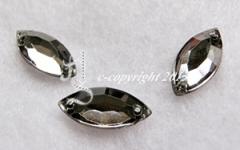 15Aufnähsteine Spitzoval ca. 7 x 15 mm Black Diamond