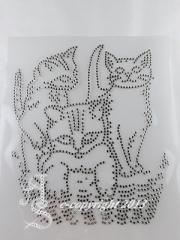 Strass Bügelmotive 3 Kätzchen im Korb  121016 Crystal