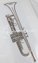 Hotfix Bügelbilder Strass traumhafte Trompete 130114 Gold