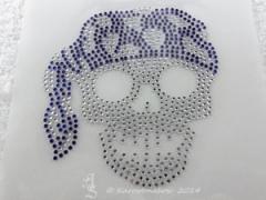 Hotfix Strass Bügelbild Pirat Totenkopf Blau/Crystal 140418