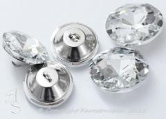 Glas Aufnähsteine Knopf mit Öse Strassteine ca.20mm Crystal