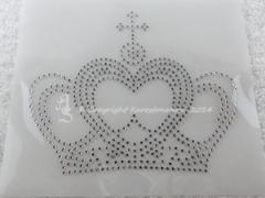 Hotfix Strass Bügelbild Glas Krone groß zur Farbwahl 141006