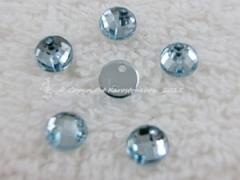 ca. 20 Qualitäts Aufnähsteine in 6 mm rund Farbe Hellblau