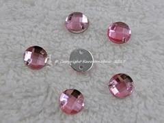 ca. 20 Qualitäts Aufnähsteine in 6 mm rund Farbe Rosa
