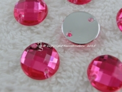 15 Qualitäts Aufnähsteine in 12 mm rund Farbe Pink Fuchsia