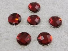15 Qualitäts Aufnähsteine in 12 mm rund Farbe Rot