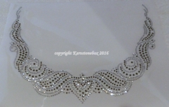 Hotfix Bügelbild Strass Edler Ausschnitt Crystal-Black Diamond 160321