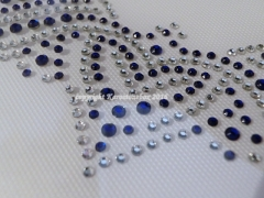 Hotfix Bügelbild Strass Edler Ausschnitt Crystal-Cobalt Blau 160321