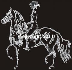 Hotfix Bügelbild Strass Pferd Reiter Strass Andalusier 110905-02