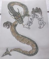 Hiotfix Strass Bügelbild Drachen Metallstuds mit Crystal 190223