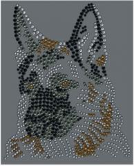 Strass Bügelbild Hund Kopf belgischer Schäferhund